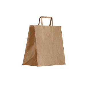 BCB-F-M Greenmark Kraft Brown Paper Carry Bags with Flat Handles Medium 345x320x150mm Chemworks Hospitality Canberra