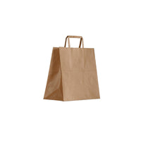BCB-F-S Greenmark Kraft Brown Paper Carry Bags with Flat Handles Small 275x275x150mm Chemworks Hospitality Canberra