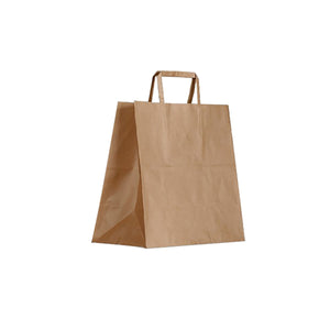 BCB-F-T Greenmark Kraft Brown Paper Carry Bags with Flat Handles Meal Delivery 305x310x175mm Chemworks Hospitality Canberra