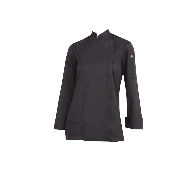 BCWLZ005-BLK-XL Chefworks Chef Jackets Black Hartford Female Chef Jacket  X-Large Chemworks Hospitality Canberra
