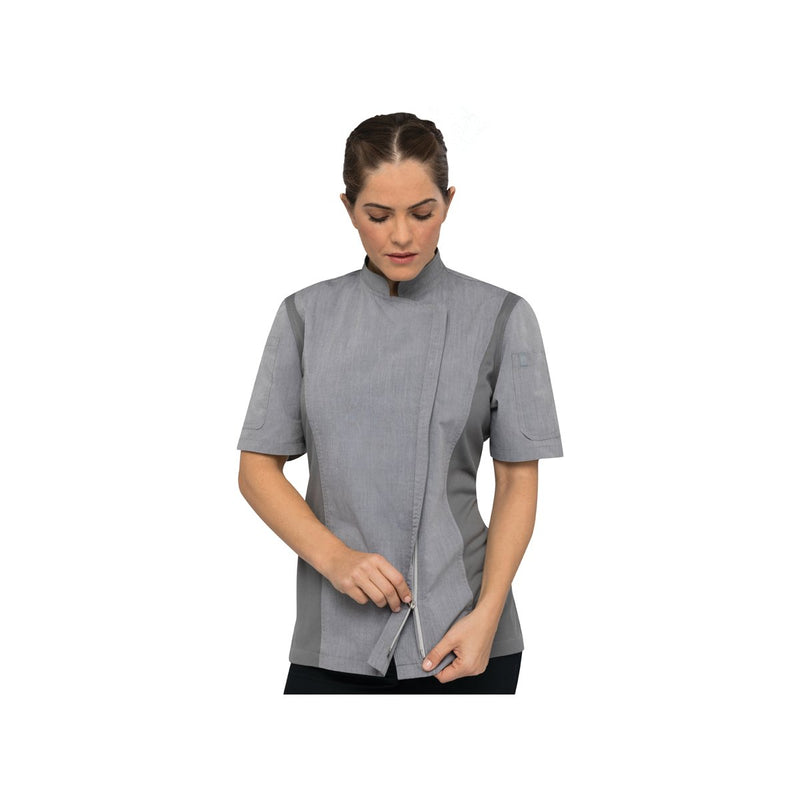BCWSZ006-GRY-S Chefworks Chef Jackets Grey Short Sleeve Springfield Female Chef Jacket  Small Chemworks Hospitality Canberra