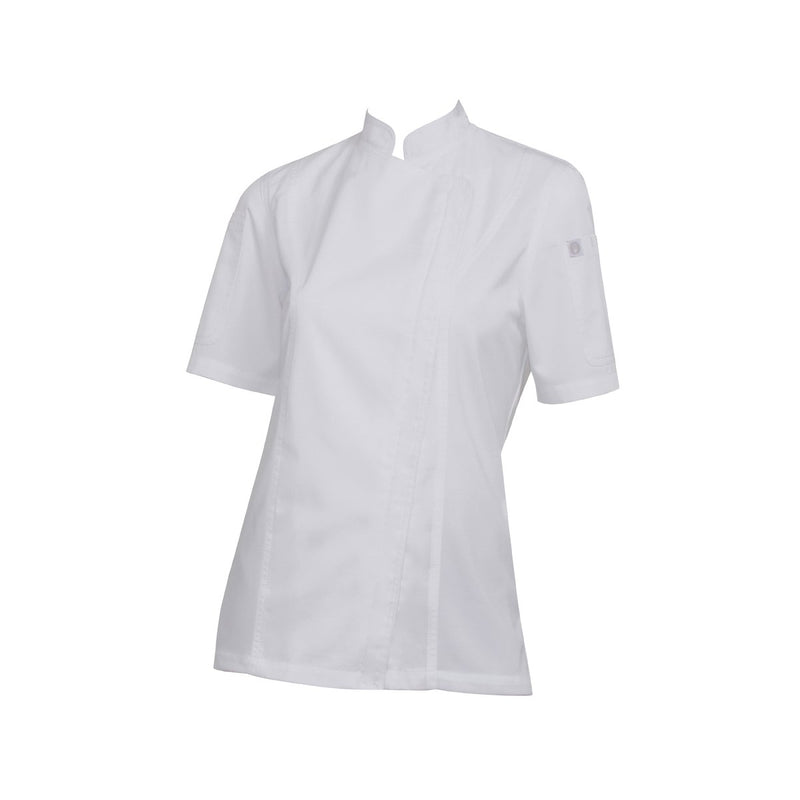 BCWSZ006-WHT-XS Chefworks Chef Jackets White Short Sleeve Springfield Female Chef Jacket  X-Small Chemworks Hospitality Canberra