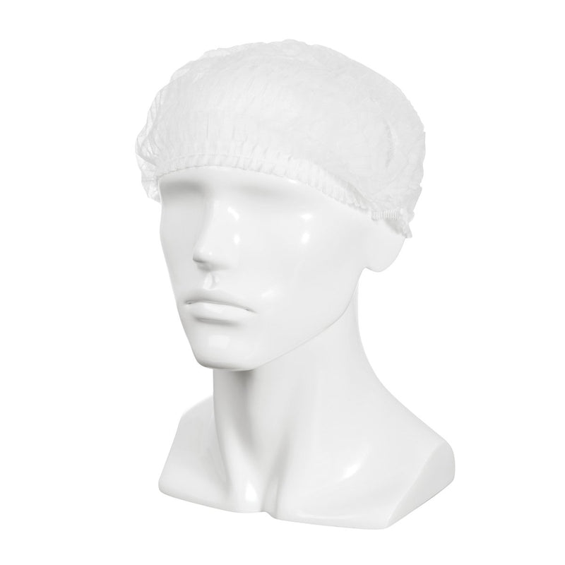 BNR21224 Crimped Beret / Bouffant Cap - White Chemworks Hospitality Canberra