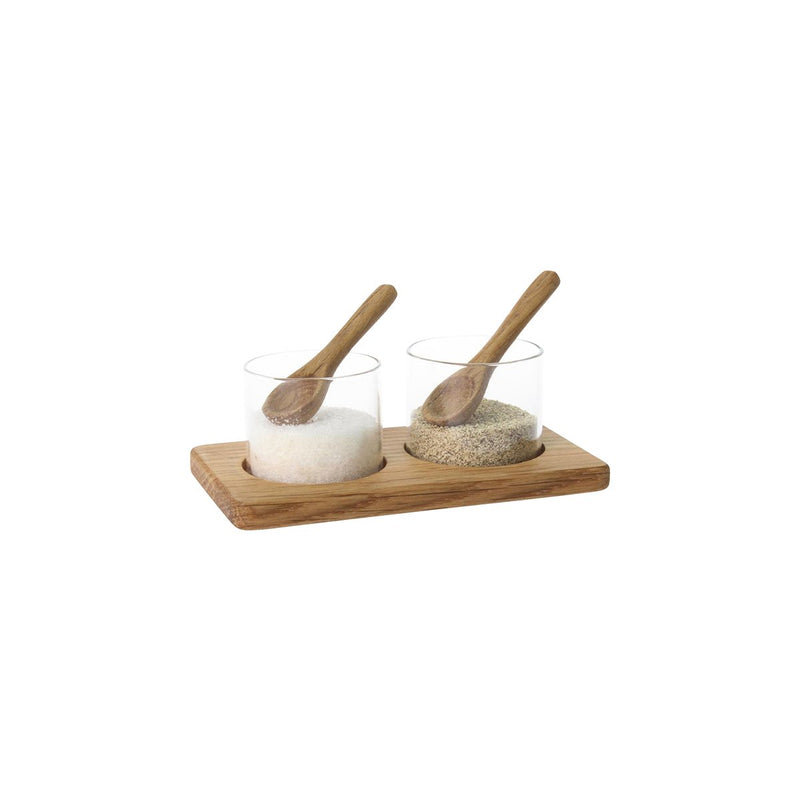 CM398 Salt & Pepper Pinch Pot Set - Wood & Glass 125x70mm