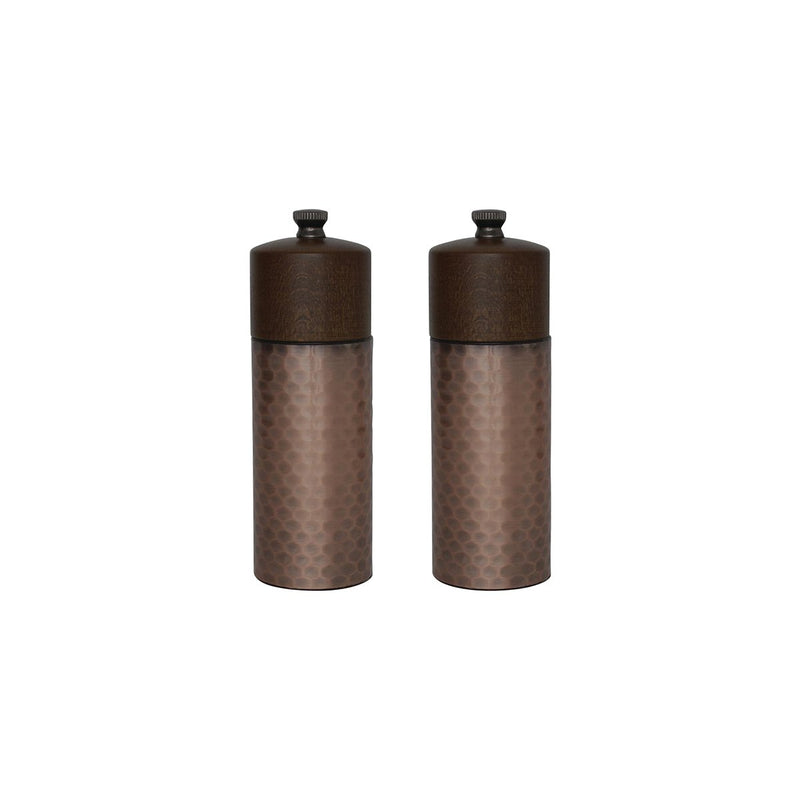 CR689 Salt & Pepper Grinder Set - Wood & Copper 150mm