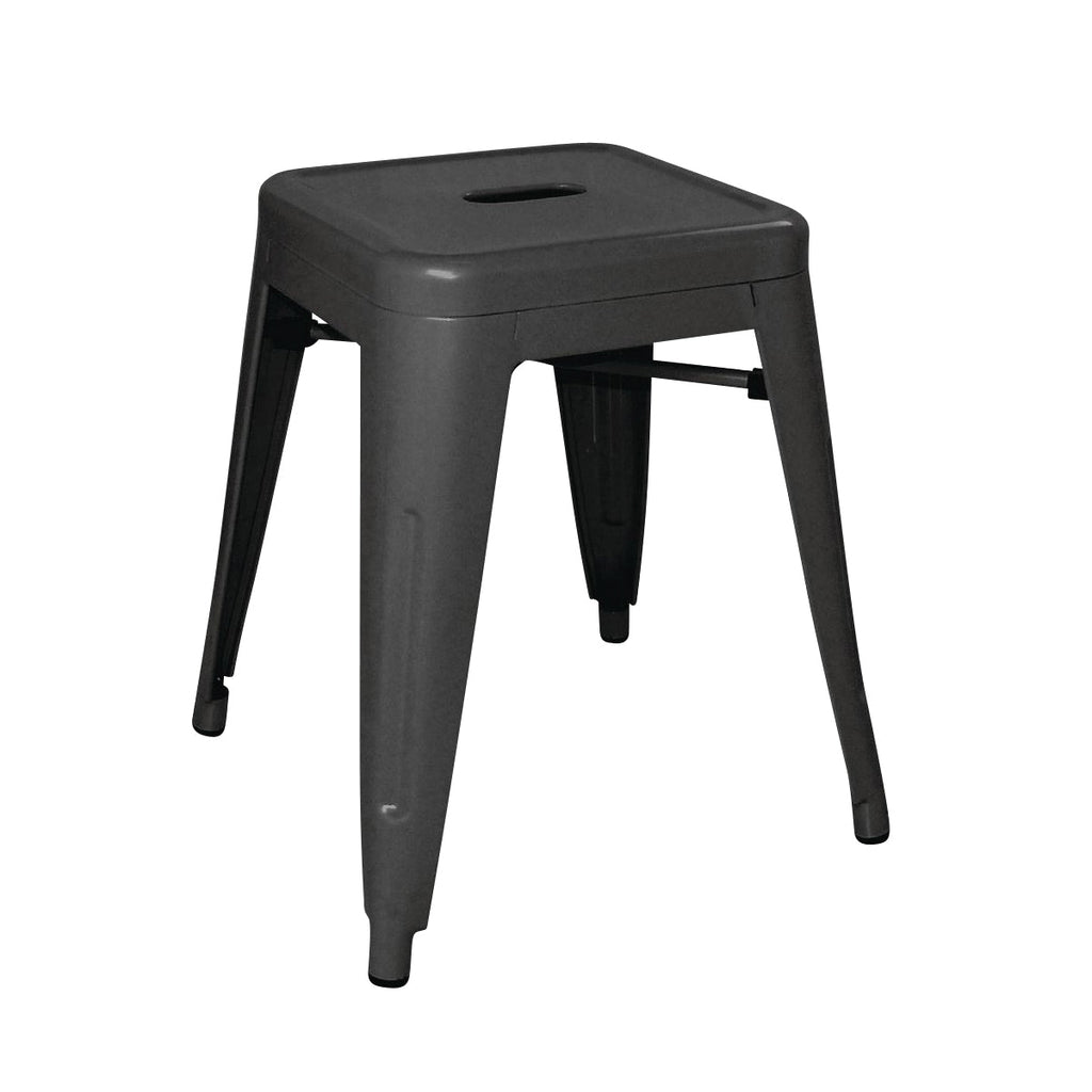 DL880 Low Stackable Bistro Steel Stools - Black 400x400x460mm Chemworks Hospitality Canberra