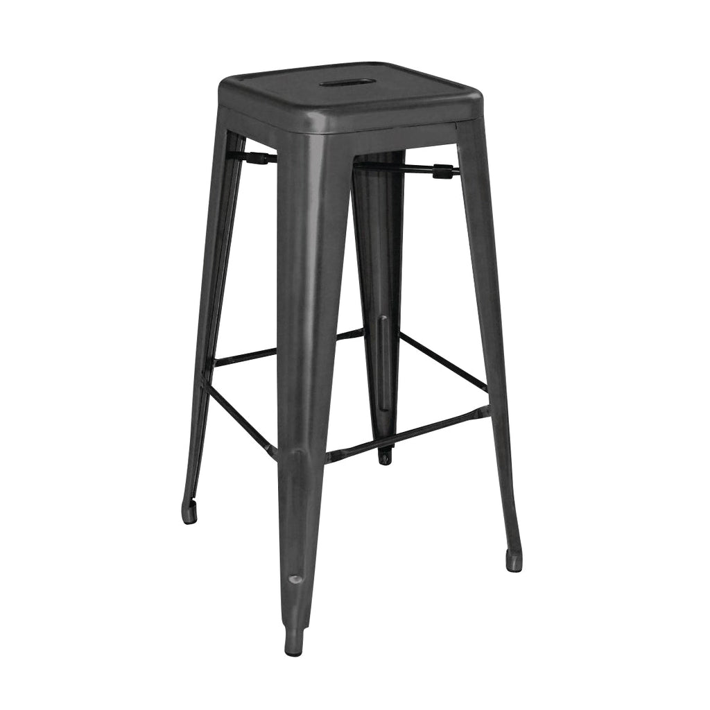 DL881 High Stackable Bistro Steel Stools - Black 430x430x760mm Chemworks Hospitality Canberra