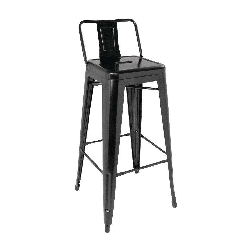 DL882 High Stackable Bistro Steel Stools With Back Rest - Black Chemworks Hospitality Canberra