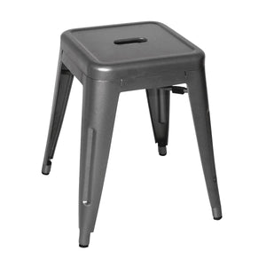 DM933 Low Stackable Bistro Steel Stools - Gun Metal Grey 400x400x460mm Chemworks Hospitality Canberra