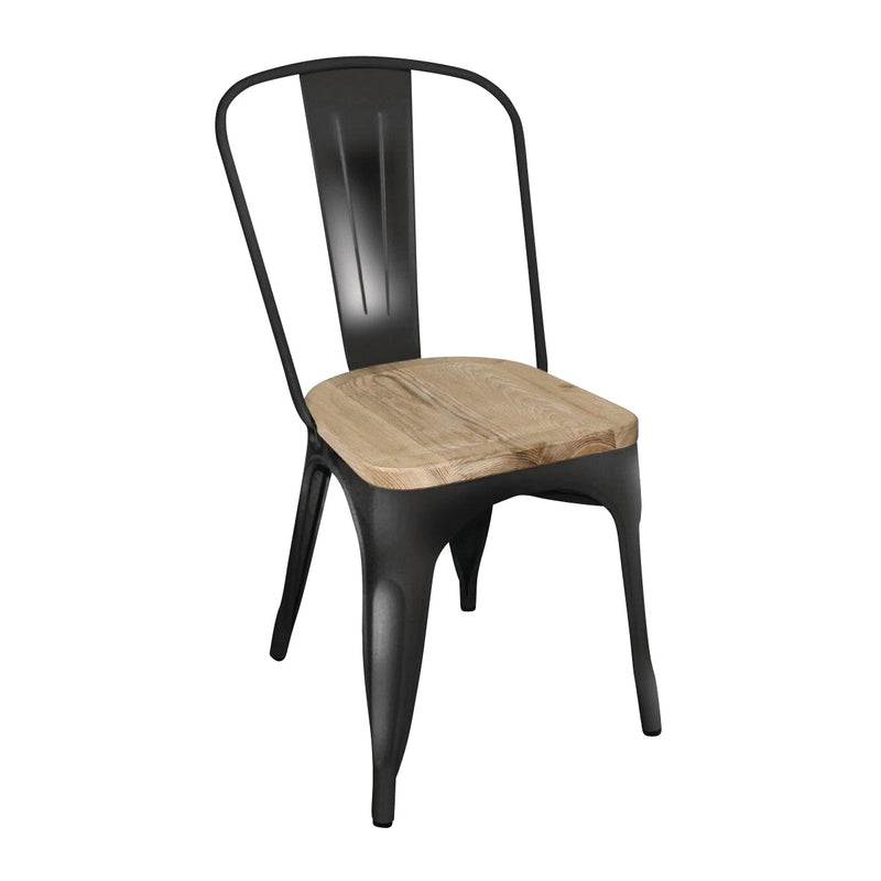 GG707 Stackable Bistro Steel Chair With Pad - Black Chemworks Hospitality Canberra