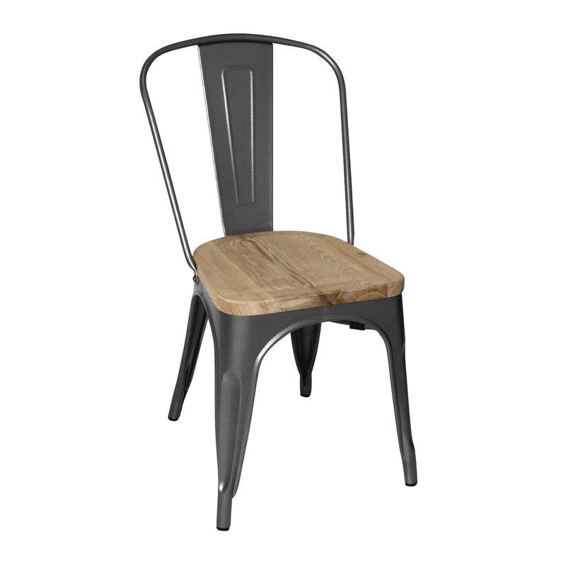 GG708 Stackable Bistro Steel Chair With Pad - Gun Metal Grey Chemworks Hospitality Canberra