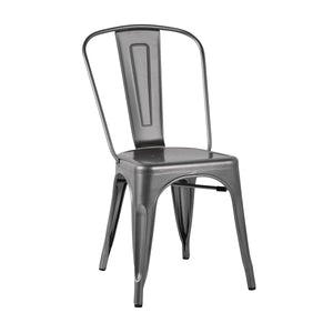 GL329 Stackable Bistro Steel Chair - Gun Metal Grey Chemworks Hospitality Canberra