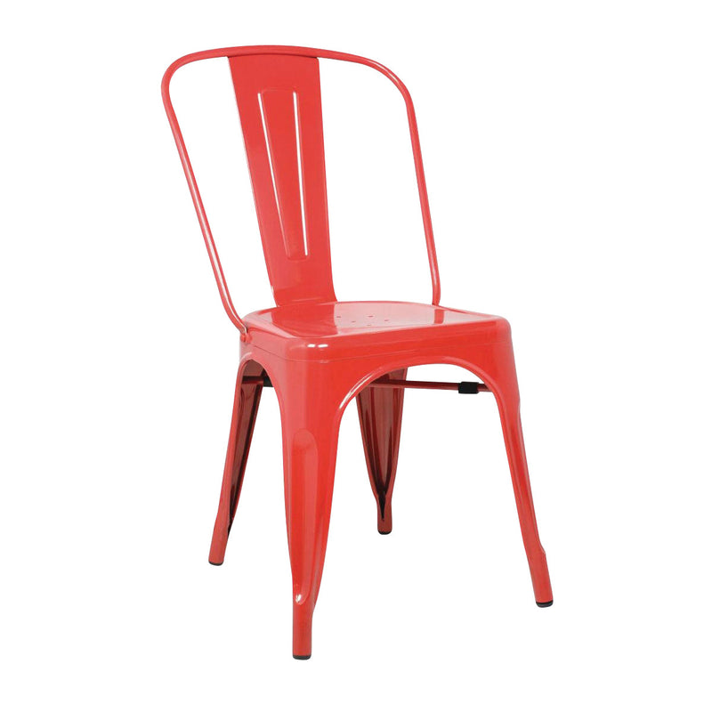 GL330 Stackable Bistro Steel Chair - Red Chemworks Hospitality Canberra