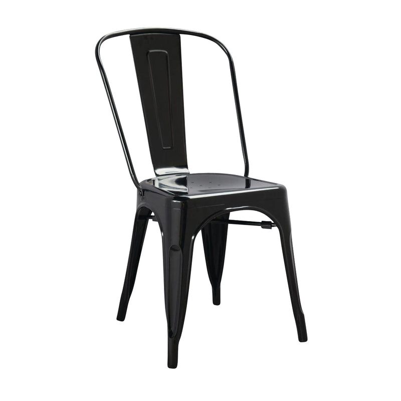 GL331 Stackable Bistro Steel Chair - Black Chemworks Hospitality Canberra