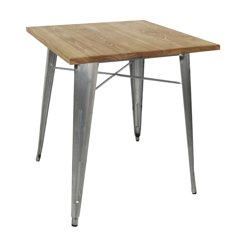 Bistro Steel Tables with Wooden Top