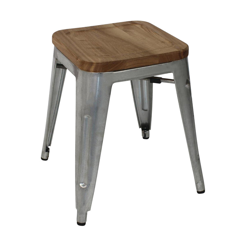 GM634 Low Stackable Bistro Steel Stools With Pad - Gun Metal Grey 400x400x450mm Chemworks Hospitality Canberra