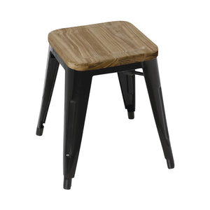 GM635 Low Stackable Bistro Steel Stools With Pad - Black 400x400x450mm Chemworks Hospitality Canberra