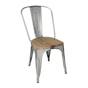 GM642 Stackable Bistro Steel Chair With Pad - Galvanised Chemworks Hospitality Canberra