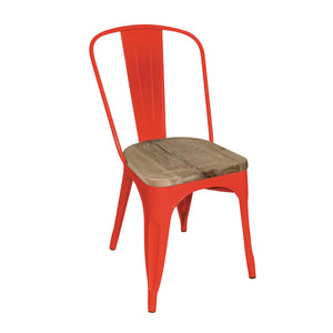 GM643 Stackable Bistro Steel Chair With Pad - Red Chemworks Hospitality Canberra
