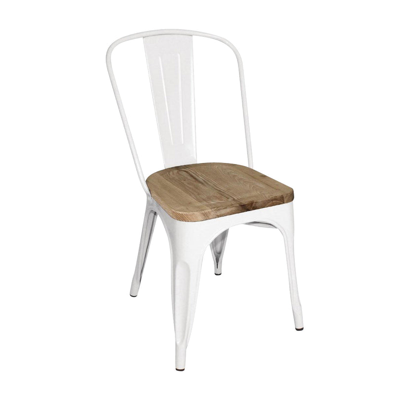 GM644 Stackable Bistro Steel Chair With Pad - White Chemworks Hospitality Canberra