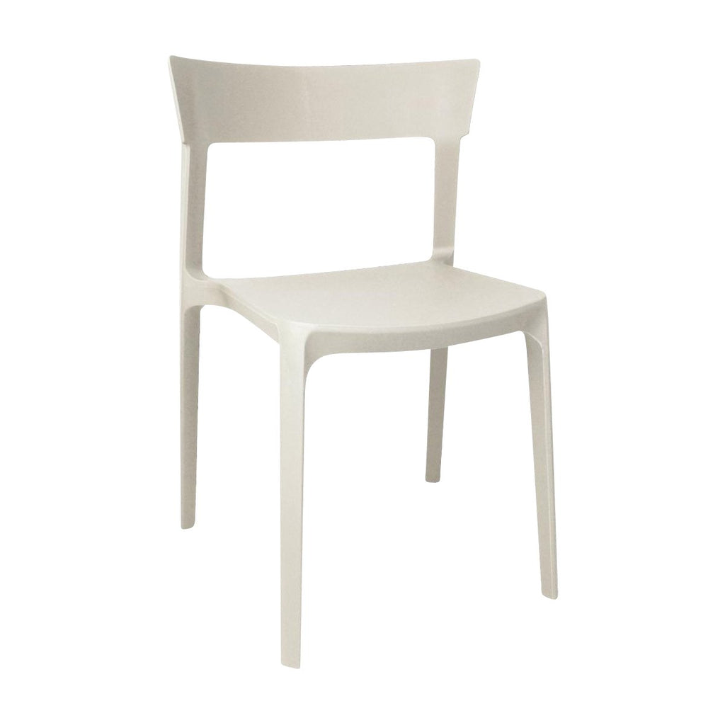 GM669 Stackable Bistro Plastic Chairs - Beige Chemworks Hospitality Canberra
