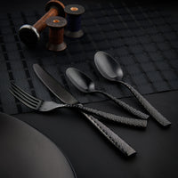 10653-BK-TR Fortessa Lucca Faceted Black Dessert Spoon Chemworks Hospitality Supplies Canberra