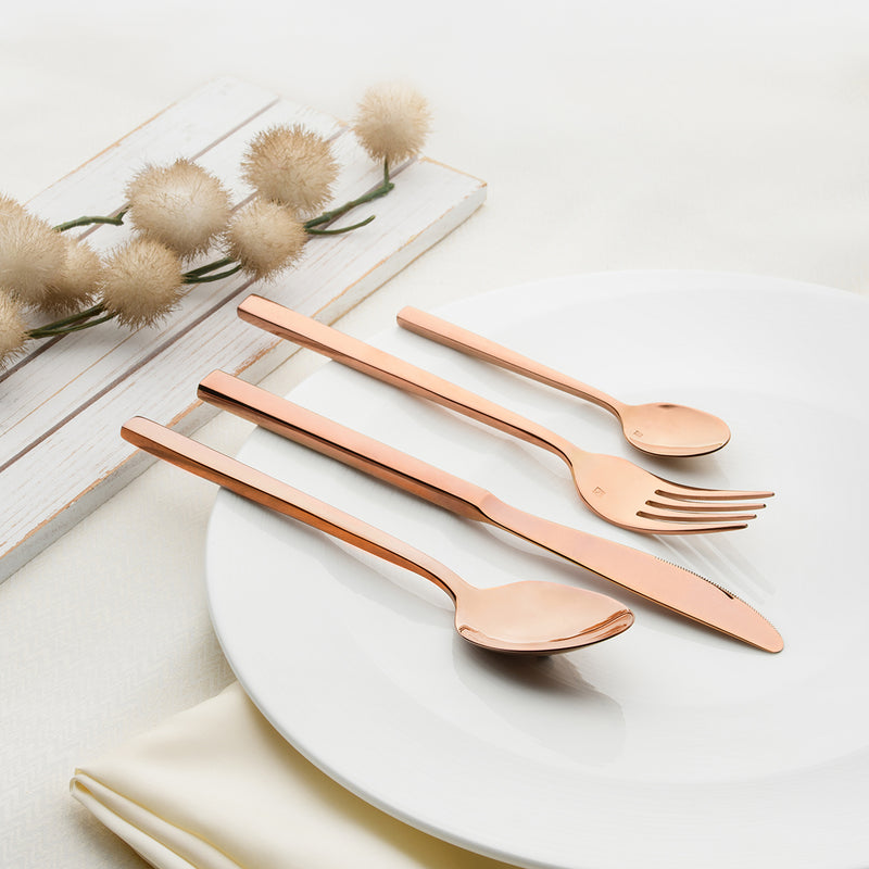 10471-R-TR Fortessa Titan Arezzo Rose Gold Dessert Knife - Solid Handle Chemworks Hospitality Supplies Canberra