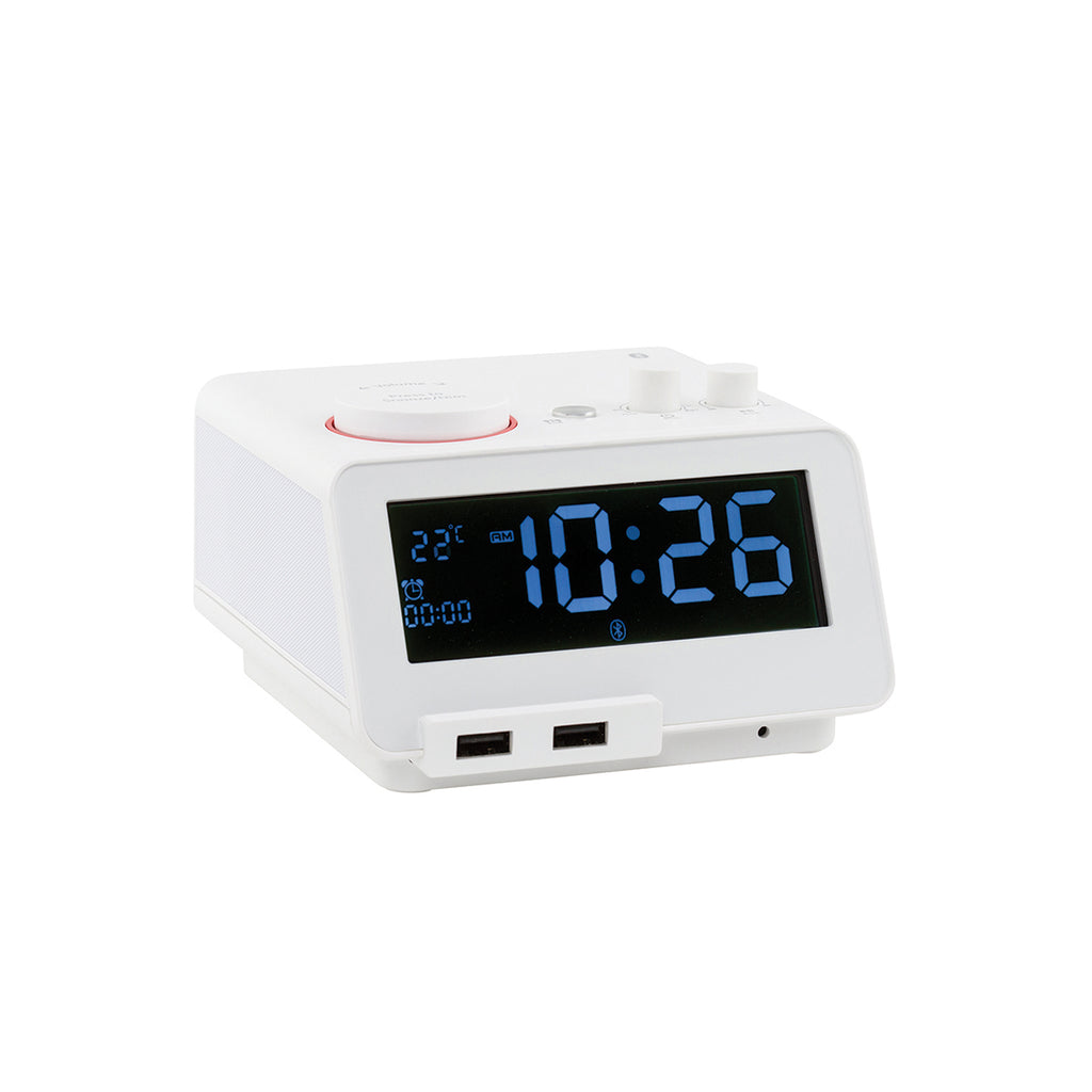 Digital Alarm Clock White with Bluetooth Audio