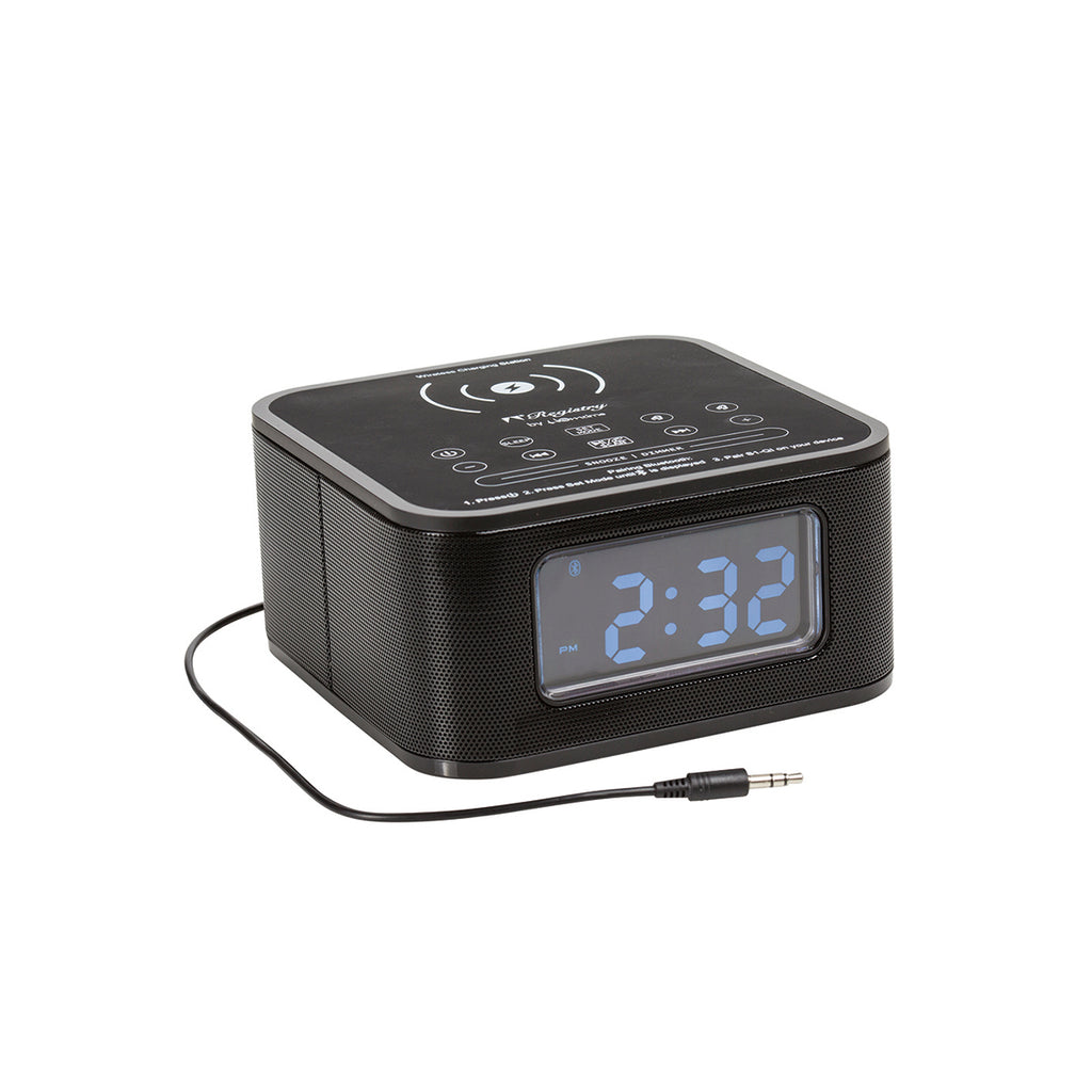 Digital Alarm Clock Black with Wireless Charing & Bluetooth Audio