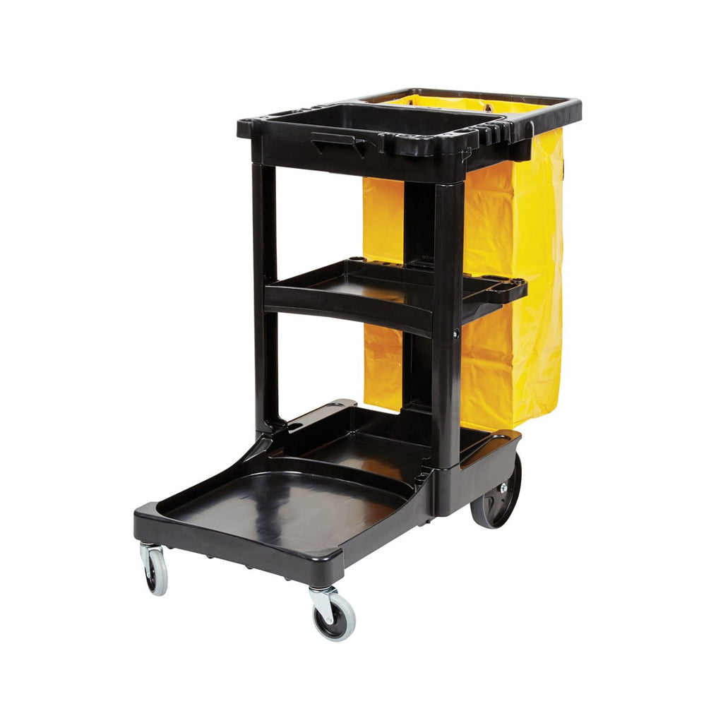 S5R6173-BLK Rubbermaid Janitor Cart - Black With Yellow Bag 1168x552x975mm Chemworks Hospitality Canberra