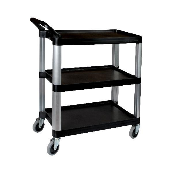 TR-105 Sunnex Plastic Single Handle Utility Trolley - Black - 3 Shelf 800x380x880mm Chemworks Hospitality Canberra