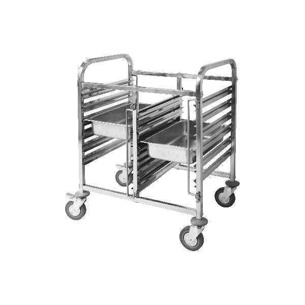 TR-610 Double Gastronorm Trolley Stainless Steel Fits 12 X 1/1 Size Trays 740x550x1000mm Chemworks Hospitality Canberra