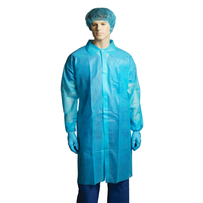 Bastion Polypropylene Labcoat, No Pocket, Blue CTN/100