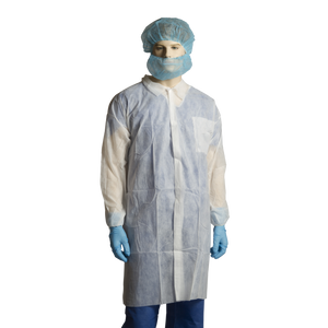 Bastion Polypropylene Labcoat, No Pocket, White CTN/100