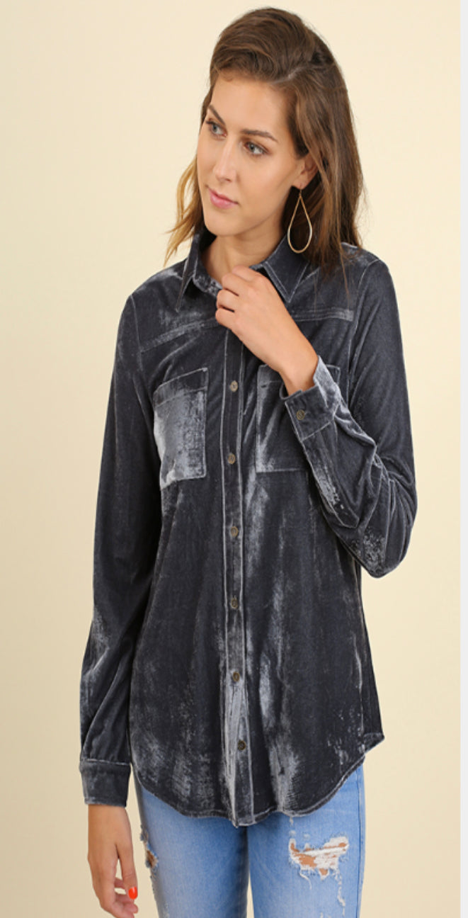 Steel Blue Velvet Button Down Top