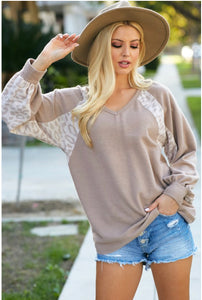 Taupe Leopard Brushed Terry Top