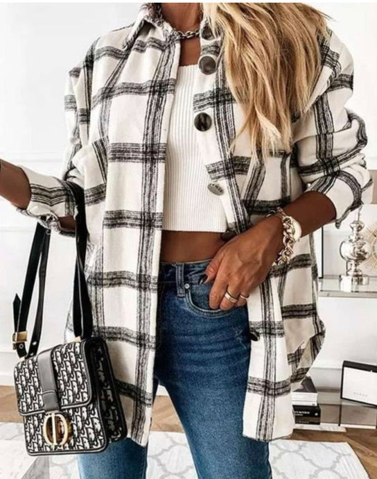 Retro Fit Black & White Plaid Jacket
