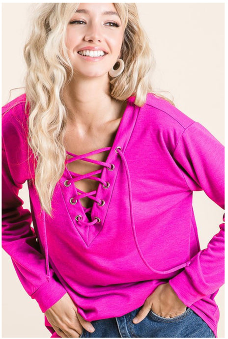 Hot Pink French Terry Top w/ Lace Up Front