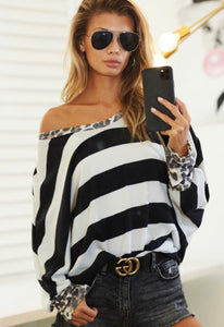 Brushed Black & White Stripe Hacci Top