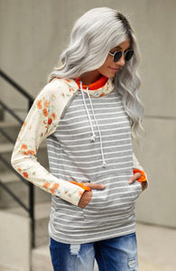 Heather Grey Hoodie w/ Floral Sleeves