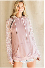 Load image into Gallery viewer, Blush Hoodie w/ Leopard Sleeves
