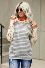 Load image into Gallery viewer, Heather Grey Hoodie w/ Floral Sleeves
