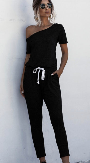 Ashley Short Sleeve 1 Shoulder Jumpsuit Black