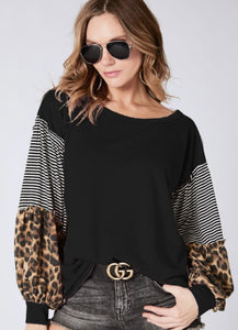 Black Terry Pullover Top w/ pinstripes & leopard