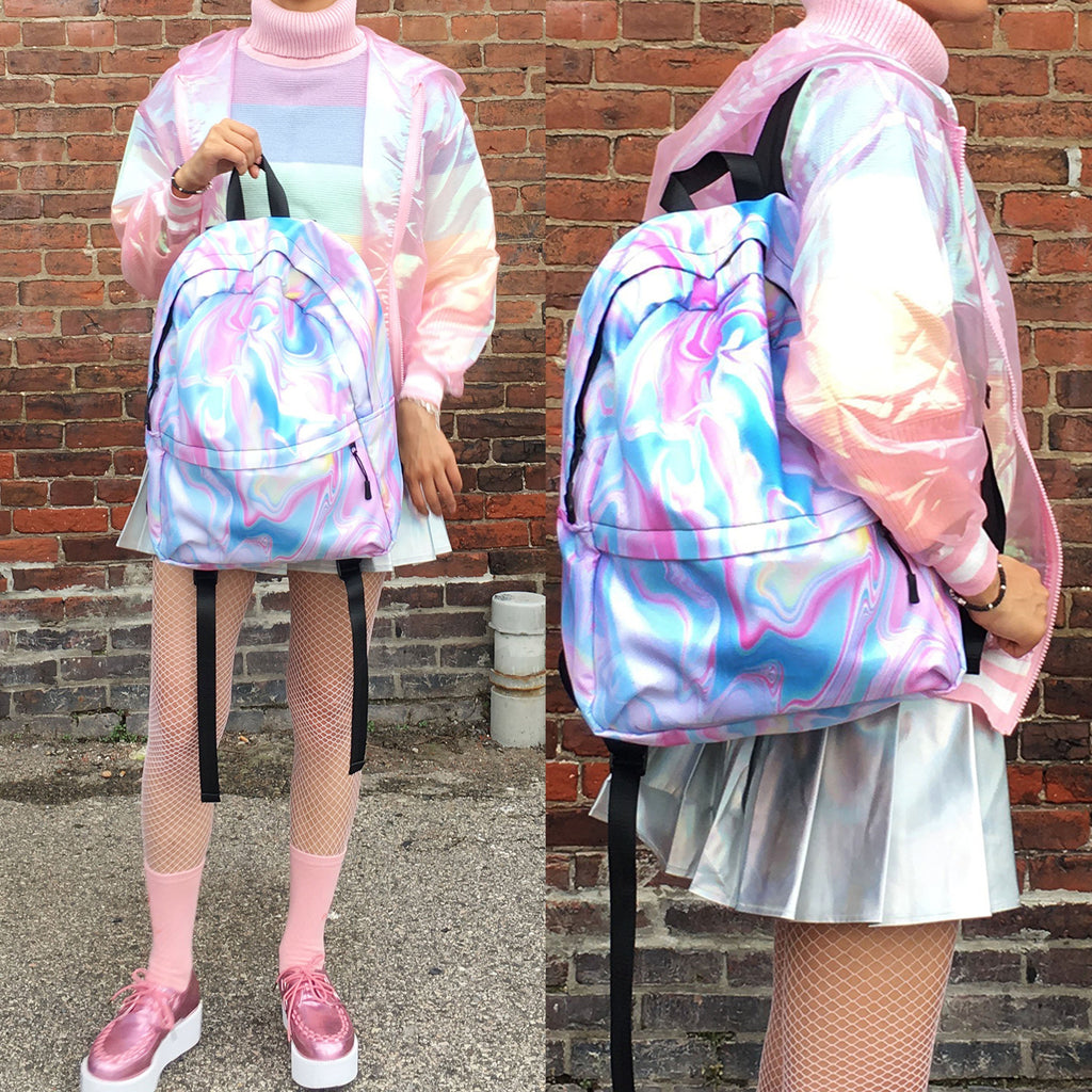HOLO MARBLE TUMBLR SOFT GRUNGE BACKPACK - SWEATSHOP-FREE MADE IN USA d2e0bff28fd81