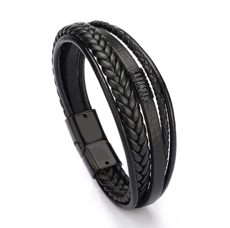 Leather bracelet Black Rio