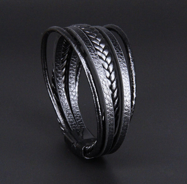 Leather bracelet Black Draven
