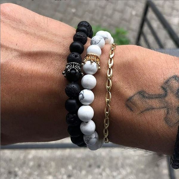 Engelsinn Armband Set Noble - Black / White