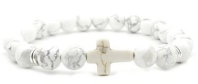 Engelsinn Armband Cross White