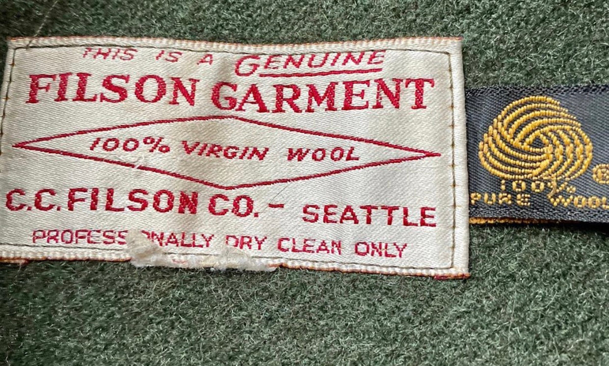 Filson Garment Tag with Woolmark to the side
